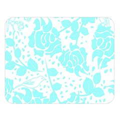 Floral Wallpaper Aqua Double Sided Flano Blanket (Large)