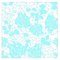 Floral Wallpaper Aqua Large Satin Scarf (Square)