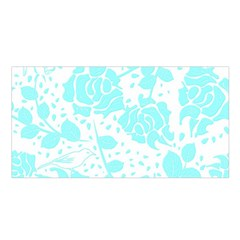 Floral Wallpaper Aqua Satin Shawl