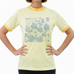 Floral Wallpaper Blue Women s Fitted Ringer T-Shirts