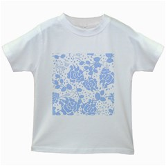 Floral Wallpaper Blue Kids White T-Shirts