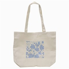 Floral Wallpaper Blue Tote Bag (Cream)