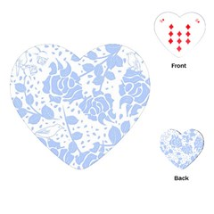 Floral Wallpaper Blue Playing Cards (heart)