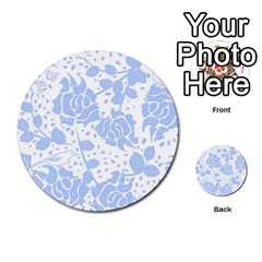 Floral Wallpaper Blue Multi Purpose Cards (round)