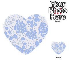 Floral Wallpaper Blue Multi-purpose Cards (Heart)