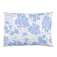Floral Wallpaper Blue Pillow Cases