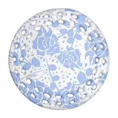 Floral Wallpaper Blue Round Filigree Ornament (2side)