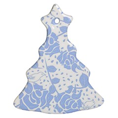 Floral Wallpaper Blue Christmas Tree Ornament (2 Sides)