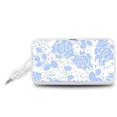 Floral Wallpaper Blue Portable Speaker (White)