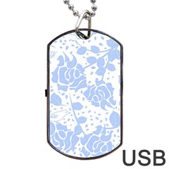 Floral Wallpaper Blue Dog Tag USB Flash (Two Sides)