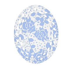 Floral Wallpaper Blue Ornament (Oval Filigree)