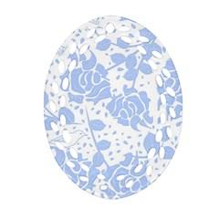 Floral Wallpaper Blue Oval Filigree Ornament (2-Side)