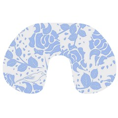 Floral Wallpaper Blue Travel Neck Pillows