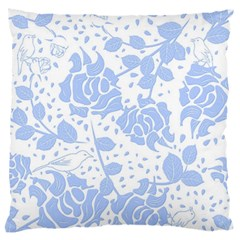 Floral Wallpaper Blue Standard Flano Cushion Cases (One Side)