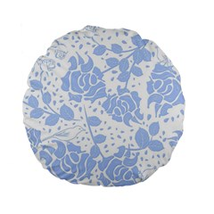 Floral Wallpaper Blue Standard 15  Premium Flano Round Cushions