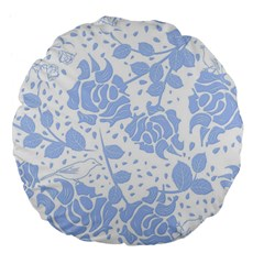 Floral Wallpaper Blue Large 18  Premium Flano Round Cushions