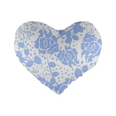 Floral Wallpaper Blue Standard 16  Premium Flano Heart Shape Cushions