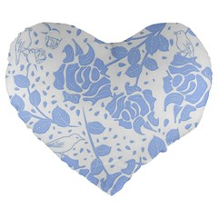 Floral Wallpaper Blue Large 19  Premium Flano Heart Shape Cushions