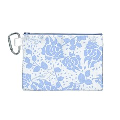 Floral Wallpaper Blue Canvas Cosmetic Bag (m)