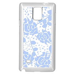 Floral Wallpaper Blue Samsung Galaxy Note 4 Case (White)