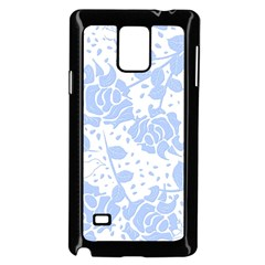 Floral Wallpaper Blue Samsung Galaxy Note 4 Case (Black)