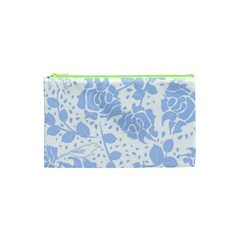 Floral Wallpaper Blue Cosmetic Bag (XS)