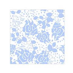 Floral Wallpaper Blue Small Satin Scarf (square)