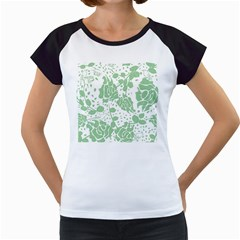Floral Wallpaper Green Women s Cap Sleeve T