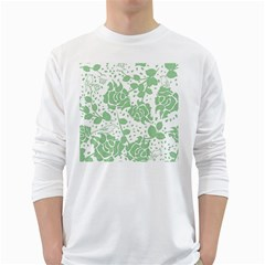 Floral Wallpaper Green White Long Sleeve T-Shirts