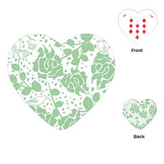 Floral Wallpaper Green Playing Cards (heart)