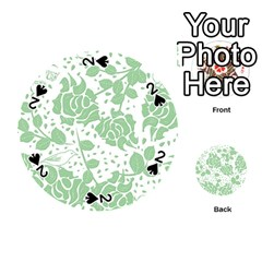 Floral Wallpaper Green Playing Cards 54 (Round)