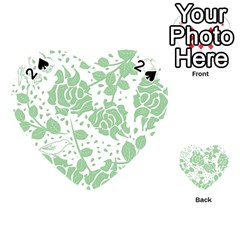 Floral Wallpaper Green Playing Cards 54 (Heart)