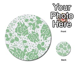 Floral Wallpaper Green Multi-purpose Cards (Round)