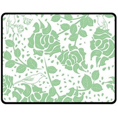 Floral Wallpaper Green Fleece Blanket (Medium)