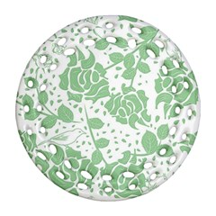 Floral Wallpaper Green Ornament (Round Filigree)