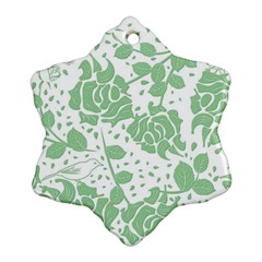 Floral Wallpaper Green Snowflake Ornament (2 Side)