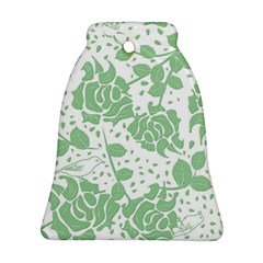 Floral Wallpaper Green Bell Ornament (2 Sides)