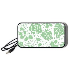Floral Wallpaper Green Portable Speaker (Black)