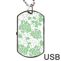 Floral Wallpaper Green Dog Tag Usb Flash (two Sides)