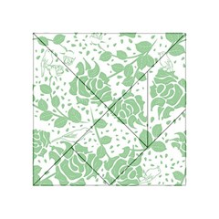 Floral Wallpaper Green Acrylic Tangram Puzzle (4  x 4 )