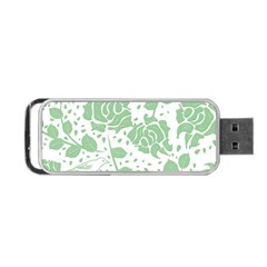 Floral Wallpaper Green Portable USB Flash (One Side)