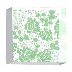 Floral Wallpaper Green 5  x 5  Acrylic Photo Blocks