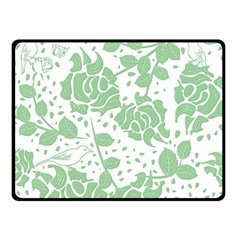 Floral Wallpaper Green Double Sided Fleece Blanket (small)