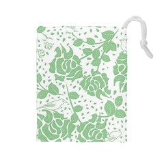 Floral Wallpaper Green Drawstring Pouches (large)