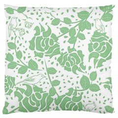 Floral Wallpaper Green Large Flano Cushion Cases (One Side)