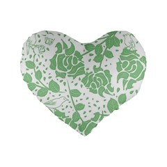 Floral Wallpaper Green Standard 16  Premium Flano Heart Shape Cushions