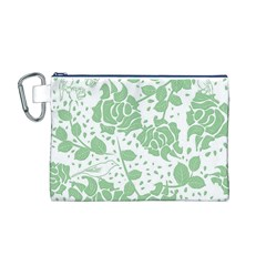 Floral Wallpaper Green Canvas Cosmetic Bag (M)