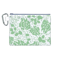 Floral Wallpaper Green Canvas Cosmetic Bag (L)