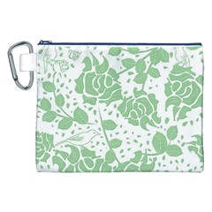 Floral Wallpaper Green Canvas Cosmetic Bag (XXL)