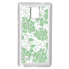 Floral Wallpaper Green Samsung Galaxy Note 4 Case (White)